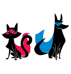 super cat and super dog silhouettes vector image