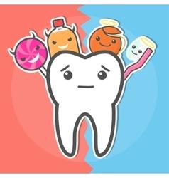 Sweets versus hygiene dental concept vector
