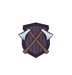 Timber industry logo with axes vector