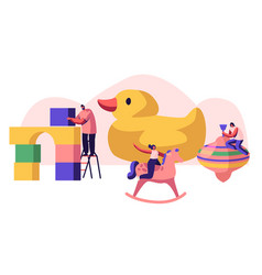 Tiny characters playing with different playthings vector