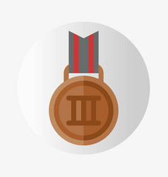 trophy champion medal flat icon winner gold vector image
