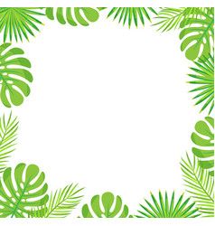 Tropical leaves border isolated green palm leaves vector