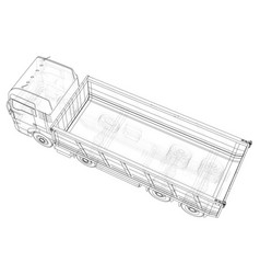 Truck tipper created of 3d wire vector