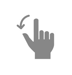 two fingers flick left grey icon touch screen vector image