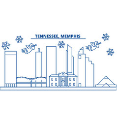 Usa tennessee memphis winter city skyline vector