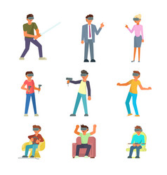vr people icon set flat vector image