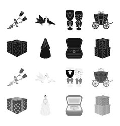 Wedding and attributes blackmonochrome icons in vector