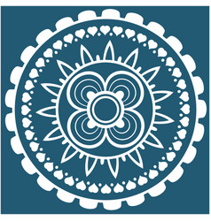 White mini heart mandala blue background im vector
