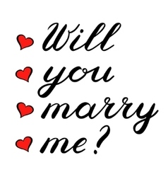 Will you marry me lettering Cute handwriting vector