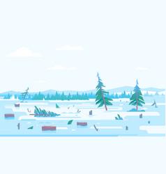 winter deforestation spruce trees vector image