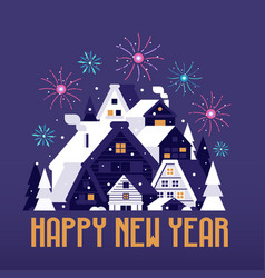 winter village happy new year card vector image