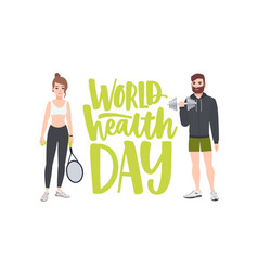 world health day celebratory banner with people vector image