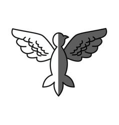 Bird pigeon freedom peace wings open shadow vector