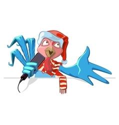 Blue cock symbol 2017 Rooster in santa hat vector image vector image