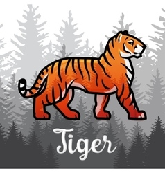 Double exposure Bengal Tiger in forest poster vector image vector image