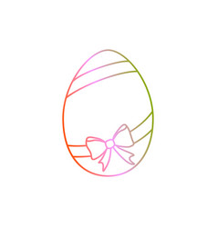 easter egg with ribbon and bow line art easter vector image vector image