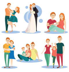 flat icons set of happy loving couples vector image vector image