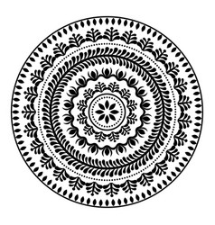 folk round pattern hippie black mandala boho sty vector image vector image