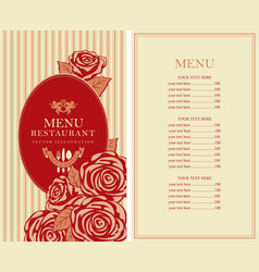 menu for the restaurant with roses in retro style vector image
