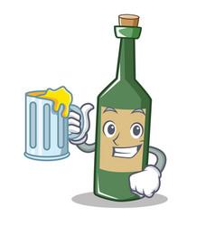 with juice wine bottle character cartoon vector image