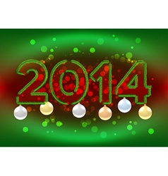 2014 sign with christmas tree branches vector image vector image