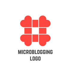 microblogging logo with hashtag from hearts vector image vector image