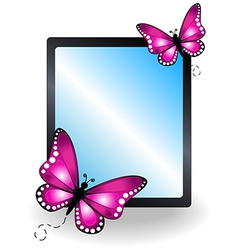 Pink butterfly message board vector image vector image
