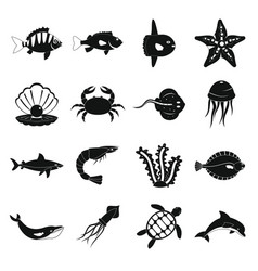 sea animals icons set simple style vector image