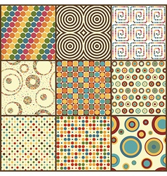 Set of nine retro geometric seamless patterns with vector image vector image