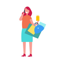 happy shopping woman on white vector image vector image