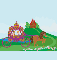 princess with prince in the carriage vector image vector image