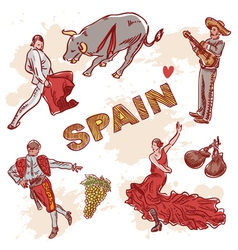 Set of spanish symbols and traditional clipart vector