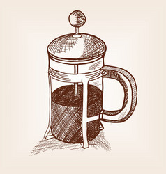 tea teapot with press sketch style vector image vector image