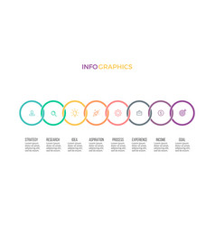 business infographics timeline with 8 options vector image vector image