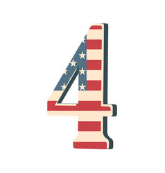 capital 3d number four with american flag texture vector image