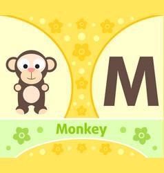 english alphabet with monkey vector image