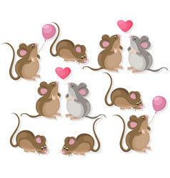 funny cute mice couple characters in love cartoon vector image
