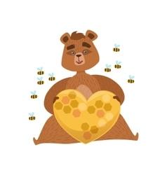 Girly Cartoon Brown Bear Character Holding Heart vector image