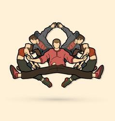 Group of people dancing hip hop street dance vector