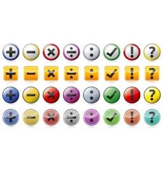 Mathematics symbols icon stickers vector image vector image