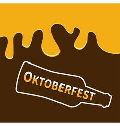 Oktoberfest Beer bottle and Flowing down alcohol vector image