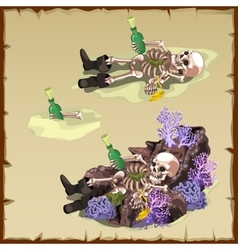 Three image of a sunken skeleton with bottle vector image vector image