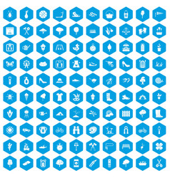 100 spring icons set blue vector
