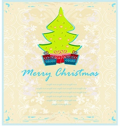 Abstract elegant grunge christmas tree card vector image