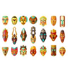 African mask cartoon set icontribal mask vector