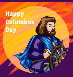 american columbus day concept banner cartoon vector image