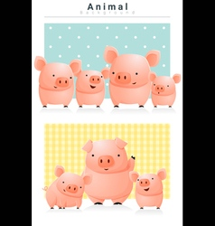 Animal background with Pigs 1 vector