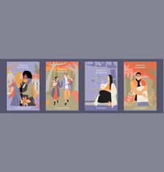 Autumn is best time concept set cards vector