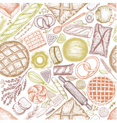 Bakery top view background hand drawn vector