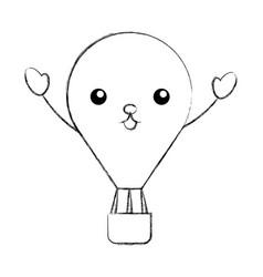 Balloon air hot kawaii character vector